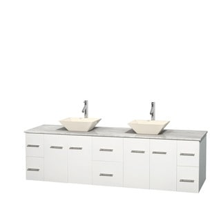 Wyndham Collection Centra 80-inch Double Bathroom Vanity in White, No Mirror (Bone Porcelain or White Porcelain)