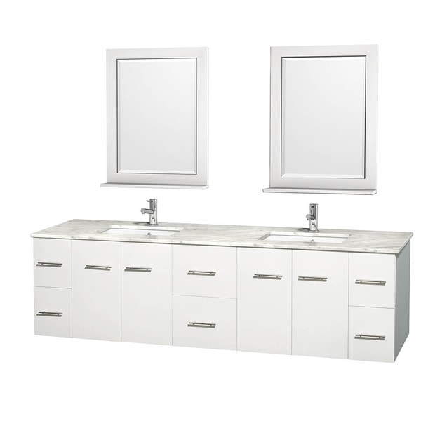 Wyndham Collection Centra 80-inch Double Bathroom Vanity in White, with Mirrors