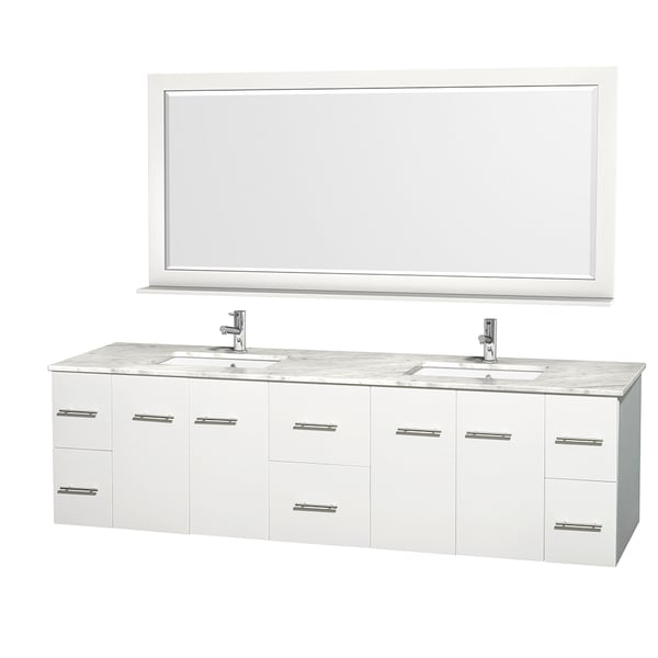 Wyndham Collection Centra 80-inch Double Bathroom Vanity in White, with Mirror