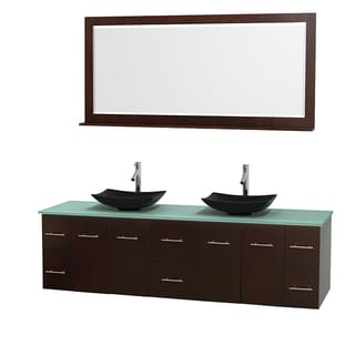 Wyndham Collection Centra 80-inch Double Bathroom Vanity in Espresso, w/ Mirror (Black Granite, Ivory Marble or White Carrera)