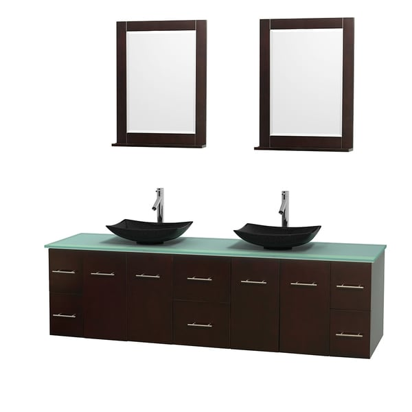 Wyndham Collection Centra 80-inch Double Bathroom Vanity in Espresso, w/ Mirrors (Black Granite, Ivory Marble or White Carrera)