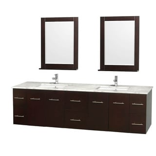 Wyndham Collection Centra 80-inch Double Bathroom Vanity in Espresso, with Mirrors