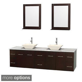 Wyndham Collection Centra 80-inch Double Bathroom Vanity in Espresso, w/ Mirrors (Bone Porcelain or White Porcelain)