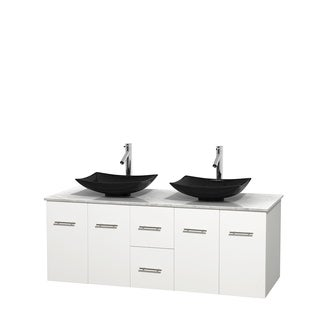 Wyndham Collection Centra 60-inch Double Bathroom Vanity in White, No Mirror (Black Granite, Ivory Marble or White Carrera)
