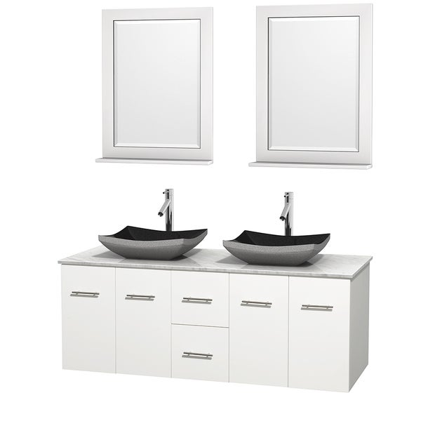 Wyndham Collection Centra 60-inch Double Bathroom Vanity in White, w/ Mirrors