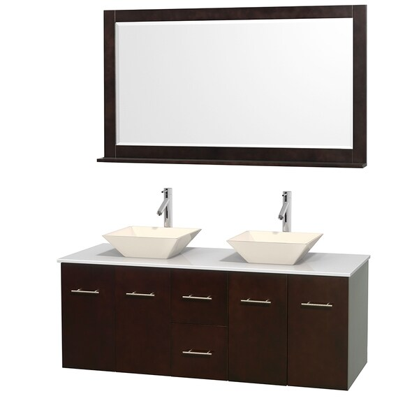 Wyndham Collection Centra 60-inch Double Bathroom Vanity in Espresso, w/ Mirror (Bone Porcelain or White Porcelain)
