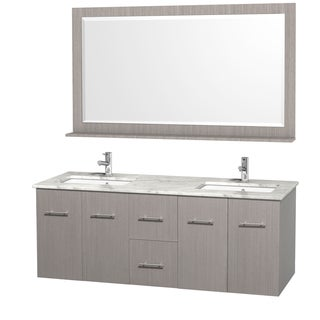 Wyndham Collection Centra 60-inch Double Bathroom Vanity in Grey Oak, with Mirror