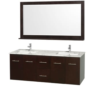 Wyndham Collection Centra 60-inch Double Bathroom Vanity in Espresso, with Mirror