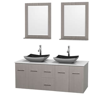 Wyndham Collection Centra 60-inch Double Bathroom Vanity in Grey Oak, w/ Mirrors (Black Granite, Ivory Marble or White Carrera)