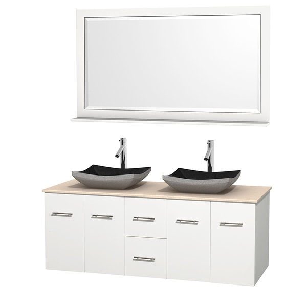 Wyndham Collection Centra 60-inch Double Bathroom Vanity in White, w/ Mirror (Black Granite, Ivory Marble or White Carrera)
