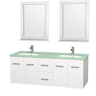 Wyndham Collection Centra Matte White 60-inch Vanity, 24-inch Mirrors