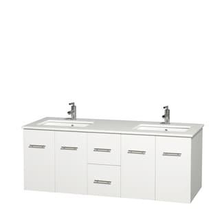 Wyndham Collection Centra 60-inch Double Bathroom Vanity in White, No Mirror