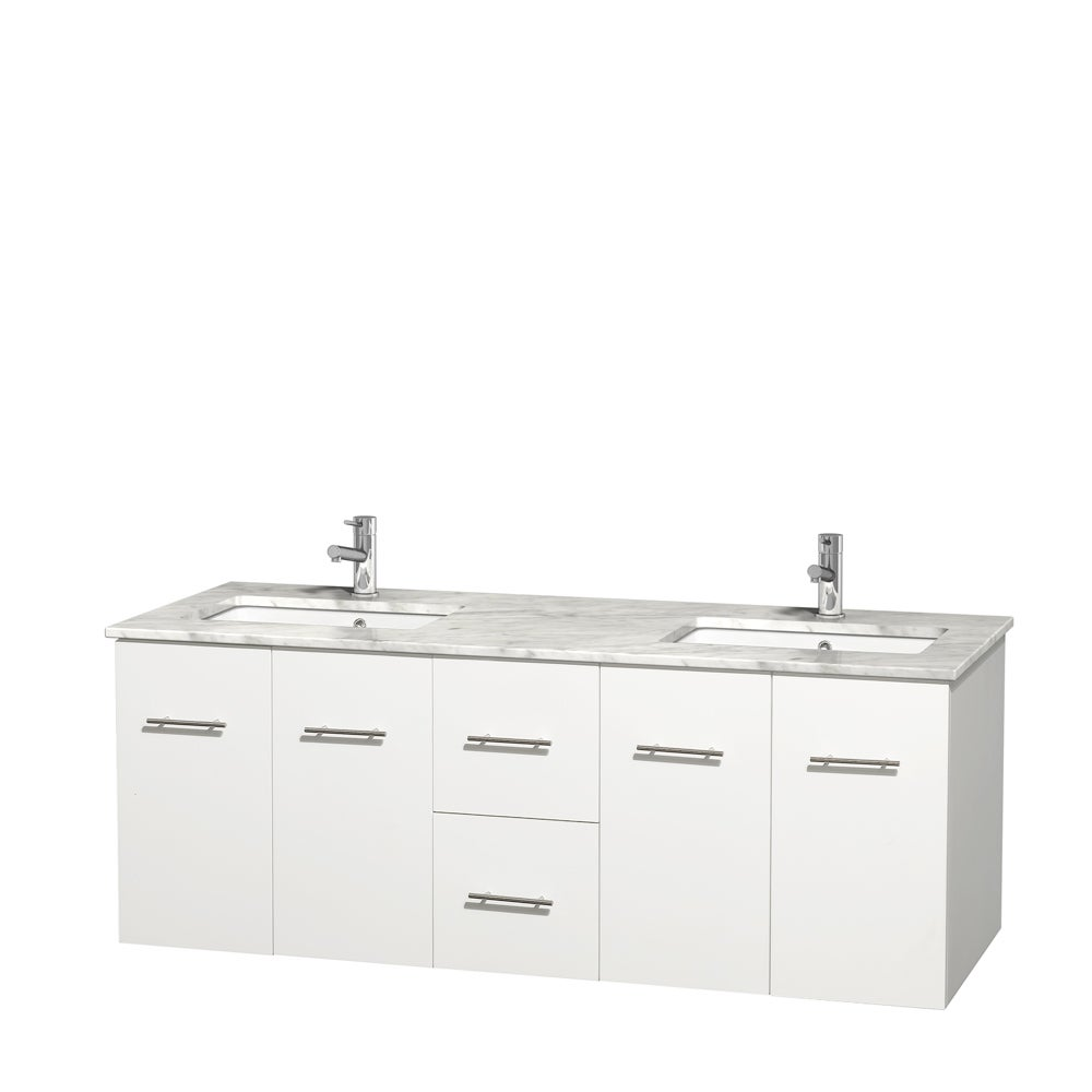 Wyndham Collection Centra 60-inch Double Bathroom Vanity in White ...