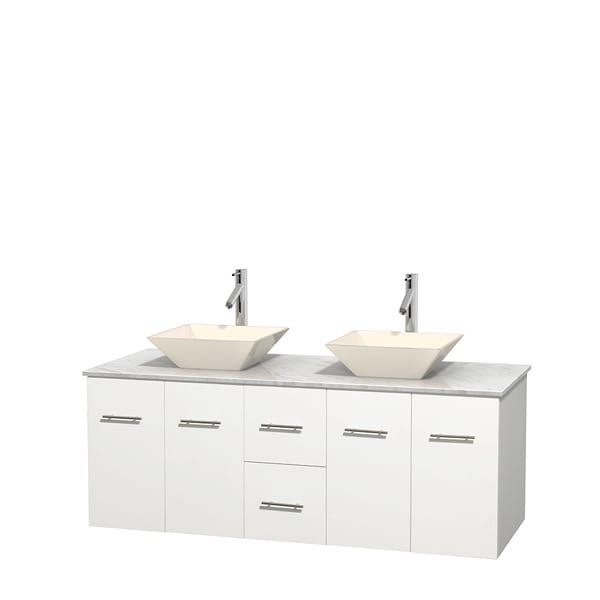 Wyndham Collection Centra 60-inch Double Bathroom Vanity in White, No Mirror (Bone Porcelain or White Porcelain)
