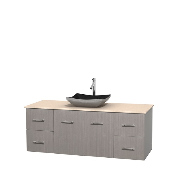Wyndham Collection Centra 60-inch Single Bathroom Vanity in Grey Oak, No Mirror (Black Granite, Ivory Marble or White Carrera)