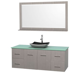 Wyndham Collection Centra 60-inch Single Bathroom Vanity in Grey Oak, w/ Mirror (Black Granite, Ivory Marble or White Carrera)