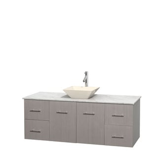 Wyndham Collection Centra 60-inch Single Bathroom Vanity in Grey Oak, No Mirror (Bone Porcelain or White Porcelain)