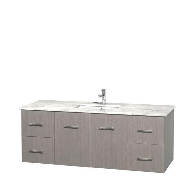Wyndham Collection Centra 60-inch Single Bathroom Vanity in Grey Oak, No Mirror