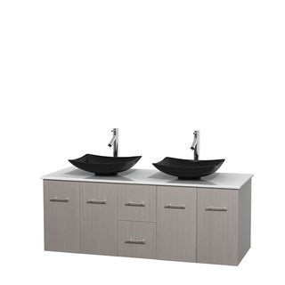 Wyndham Collection Centra 60-inch Double Bathroom Vanity in Grey Oak, No Mirror (Black Granite, Ivory Marble or White Carrera)