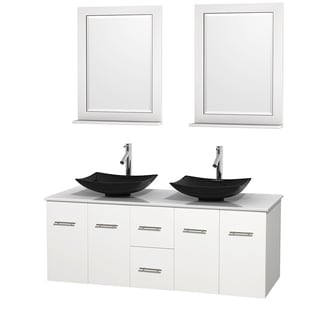Wyndham Collection Centra 60-inch Double Bathroom Vanity in White, w/ Mirrors (Black Granite, Ivory Marble or White Carrera)