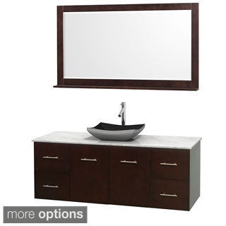 Wyndham Collection Centra 60-inch Single Bathroom Vanity in Espresso, w/ Mirror (Black Granite, Ivory Marble or White Carrera)