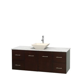 Wyndham Collection Centra 60-inch Single Bathroom Vanity in Espresso, No Mirror (Bone Porcelain or White Porcelain)