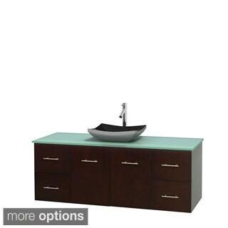 Wyndham Collection Centra 60-inch Single Bathroom Vanity in Espresso, No Mirror (Black Granite, Ivory Marble or White Carrera)