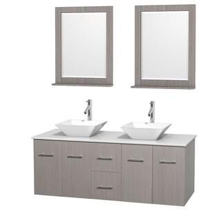 Wyndham Collection Centra 60 Inch Double Bathroom Vanity In Grey Oak, W/  Mirrors