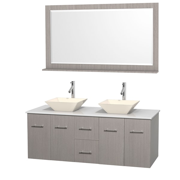 Wyndham Collection Centra 60-inch Double Bathroom Vanity in Grey Oak, w/ Mirror (Bone Porcelain or White Porcelain)