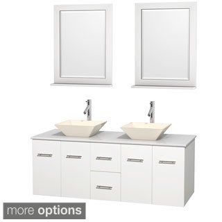 Wyndham Collection Centra 60-inch Double Bathroom Vanity in White, w/ Mirrors (Bone Porcelain or White Porcelain)
