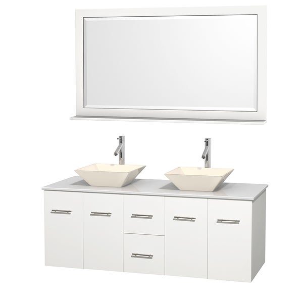 Wyndham Collection Centra 60-inch Double Bathroom Vanity in White, w/ Mirror (Bone Porcelain or White Porcelain)