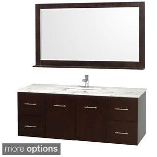 Wyndham Collection Centra Espresso 60-inch Single Bathroom Vanity with Mirror