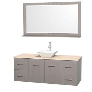 Wyndham Collection Centra 60-inch Single Bathroom Vanity in Grey Oak, w/ Mirror (Bone Porcelain or White Porcelain)