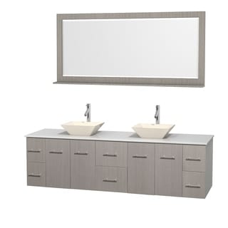 Wyndham Collection Centra 80-inch Double Bathroom Vanity in Grey Oak, w/ Mirror (Bone Porcelain or White Porcelain)
