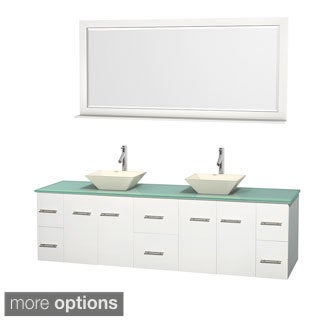 Wyndham Collection Centra 80-inch Double Bathroom Vanity in White, w/ Mirror (Bone Porcelain or White Porcelain)