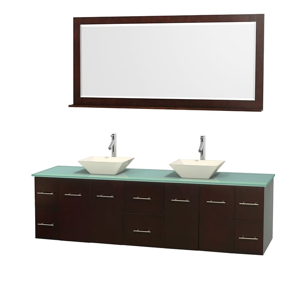 Wyndham Collection Centra 80-inch Double Bathroom Vanity in Espresso, w/ Mirror (Bone Porcelain or White Porcelain)