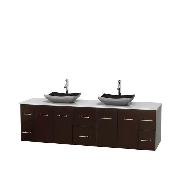 Wyndham Collection Centra 80-inch Double Bathroom Vanity in Espresso, No Mirror (Black Granite, Ivory Marble or White Carrera)