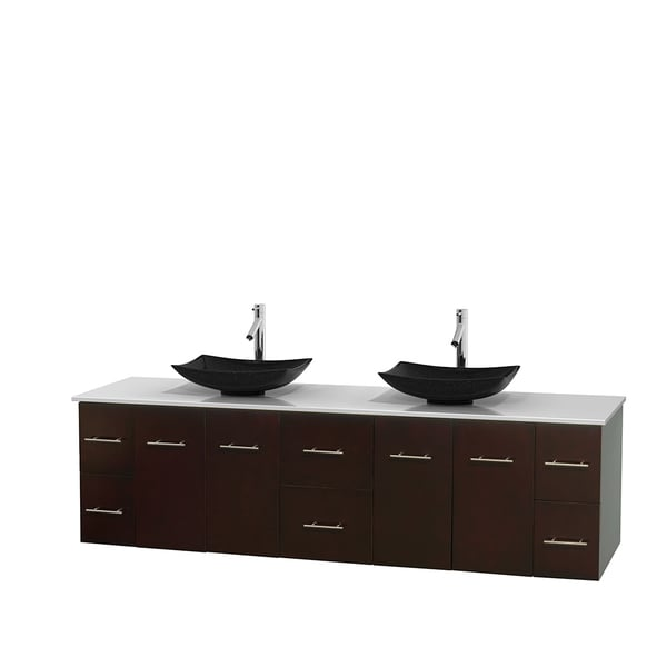 Wyndham Collection Centra 80-inch Double Bathroom Vanity in Espresso, No Mirror (Black Granite, Ivory Marble or White Carrera)