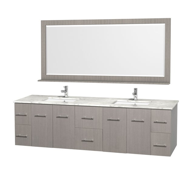 Wyndham Collection Centra 80-inch Double Bathroom Vanity in Grey Oak, with Mirror