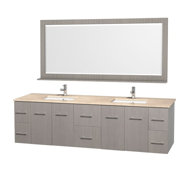 Merveilleux Wyndham Collection Centra 80 Inch Double Bathroom Vanity In Grey Oak, With  Mirror
