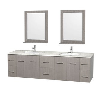 Wyndham Collection Centra 80-inch Double Bathroom Vanity in Grey Oak, with Mirrors