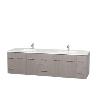 Wyndham Collection Centra 80 Inch Double Bathroom Vanity In Grey Oak, No  Mirror
