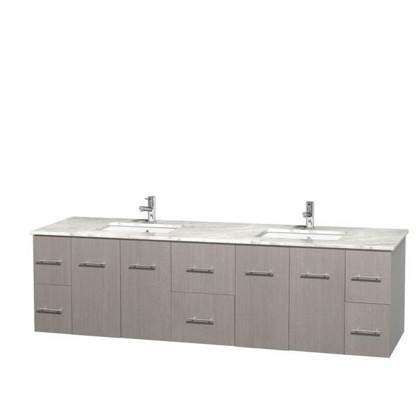 Wyndham Collection Centra 80-inch Double Bathroom Vanity in Grey Oak, No Mirror