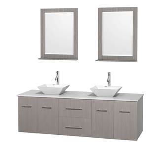 Wyndham Collection Centra 72-inch Double Bathroom Vanity in Grey Oak, w/ Mirrors (Bone Porcelain or White Porcelain)