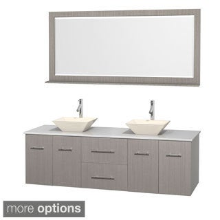 Wyndham Collection Centra 72-inch Double Bathroom Vanity in Grey Oak, w/ Mirror (Bone Porcelain or White Porcelain)