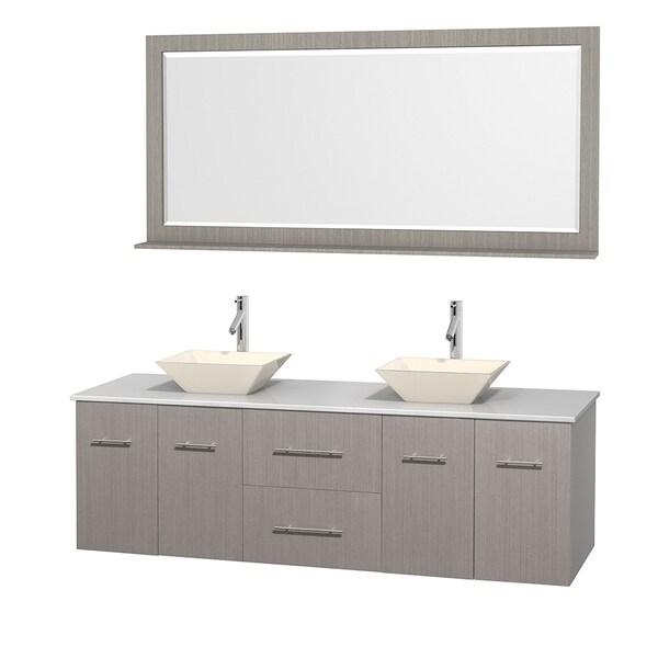 Centra 72-inch Double Vanity in Grey Oak, w/ Mirror