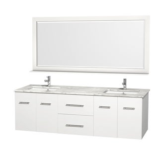 Wyndham Collection Centra 72-inch Double Bathroom Vanity in White, with Mirror