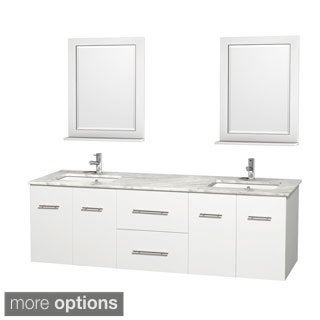 Wyndham Collection Centra 72-inch Double Bathroom Vanity in White, with Mirrors