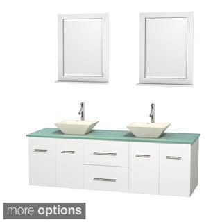 Wyndham Collection Centra White 72-inch Double Green Glass Bathroom Vanity with Mirrors