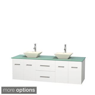 Wyndham Collection Centra White 72-inch Double Green Glass Vanity